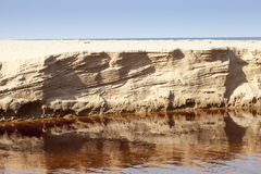 Eroded sand riverbank Stock Image