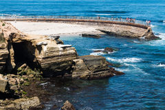 Eroded Sandstone Cliffs Near the La Jolla Children`s Pool Royalty Free Stock Photo