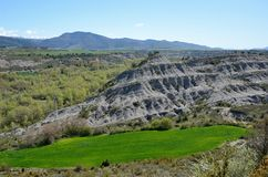 Eroded slaty hill in the Spanish region Navarra Royalty Free Stock Image