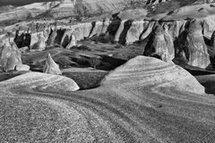 Eroded stone cliffs. Look like mushrooms near Goreme, Cappadocia, Turkey stock photos