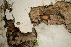 Eroded Textured Vintage Colonial Wall  in Asia with Brick and St. Eroded Textured Stucco Vintage Colonial Wall  in Asia with multiple Materials and Layers. Old Stock Image