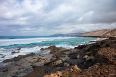 Eroded  west coast of Fuerteventura Royalty Free Stock Photo