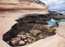 Eroded  west coast of Fuerteventura Royalty Free Stock Photos
