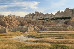 Eroderade berg av badlandsna, South Dakota royaltyfri bild
