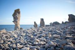 Eroderade kalkstenbuntar på ön av Faro i Sverige Arkivbilder