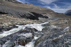Eroderat landskap Columbia Icefield Fotografering för Bildbyråer