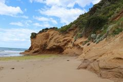 Eroding bluffs and limestone cliffs at Urquhart Bluff beach. Fairhaven, Australia - October 8, 2017: Some of the eroding bluffs and limestone cliffs visible at Royalty Free Stock Photography