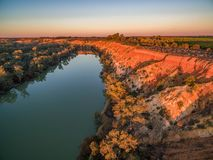 Eroding sandstone cliffs over Murray River. stock photo