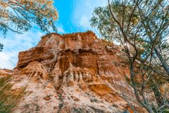 Eroding orange sandstone cliffs. royalty free stock image