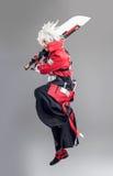 Eroe di manga con la spada fotografia stock
