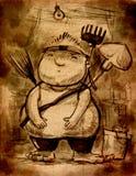 Eroe grasso del ragazzo nel suo garage Immagine Stock