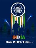Eroe indiano di nazione del soilder dell'esercito su orgoglio del fondo dell'India illustrazione di stock