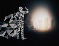 Eroe poligonale che esamina città Immagine Stock Libera da Diritti