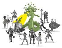 Eroi di tornitura del gorgon della medusa alla pietra immagine stock libera da diritti