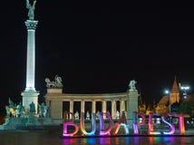 Eroi quadrati con le grandi lettere colorate Budapest Immagine Stock Libera da Diritti