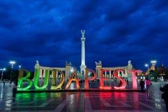 Eroi quadrati con le lettere di Budapest Fotografia Stock