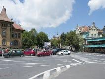 Eroilor Boulevard in Brasov, Romania royalty free stock photo