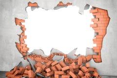Eronder teruggevend gebroken muur met witte gat en stapel van roestige rode bakstenen Stock Afbeelding