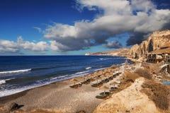 Eros beach on Santorini island Stock Photos
