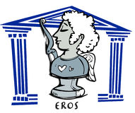 Eros,cupid, Greek God Cartoon. Eros,cupid, antique greek god icon Stock Images