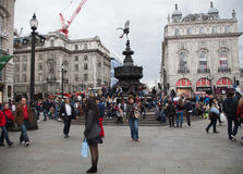 Eros Statue, Piccadilly-Zirkus, London Stockbild