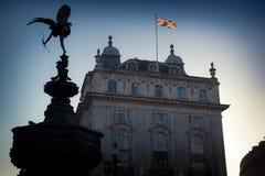 Eros und Union Jack an Piccadilly-Zirkus Stockfoto