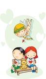 Eroshjälpbarn kopplar ihop stock illustrationer