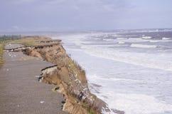 Erosión costera, costa del este de Yorkshire. Inglaterra fotografía de archivo