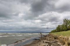 Erosión de la duna de arena causada por la acción de la onda del lago Hurón Fotos de archivo