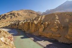 Erosión de viento en desierto frío Imagen de archivo libre de regalías