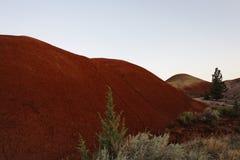 Erosie van rode gronden in een hoog woestijnlandschap Stock Fotografie