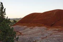 Erosie van rode gronden in een hoog woestijnlandschap Stock Foto