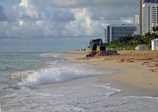 Erosiecontrole op het Strand van Miami Stock Foto's