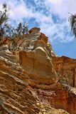Erosiehellingen op de kust, Fraser Island, Australië stock afbeeldingen