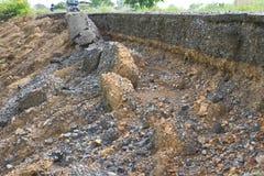 Erosion along the asphalt was broken down. Royalty Free Stock Photography