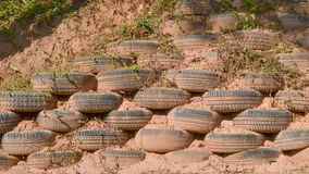 Erosion control with tires Stock Photos