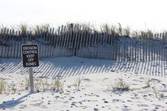 Erosion on dunes. Wood sign indicating due to erosion control stay off dunes with weather strapping fence behind Royalty Free Stock Photography