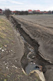 Erosion, environment destruction. Soil erosion,  destruction of environment  by water and wind Stock Photo