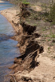 Erosion. An eroded riverbank in rural Missouri stock image
