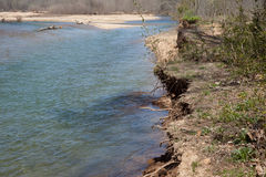 Erosion. An eroded riverbank in rural Missouri stock photography