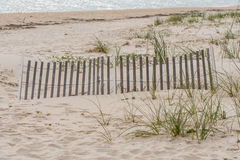 Erosion Fence On Dunes. On empty Florida beach Royalty Free Stock Photography