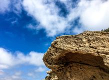 Sandstone erosion from Atlantic winds at Fonte da Areia, Porto Santo, Madeira. Erosion and geological landscape of islands royalty free stock photography