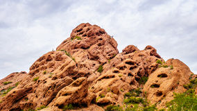 Erosion of the Red Sandstone Buttes created interesting Rock Formations in Papago Park Royalty Free Stock Photography