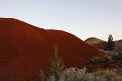 Erosion of red soils in a high desert landscape. With sage and evergreen. Painted hills land formations - Central Oregon USA stock photography