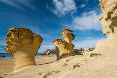 Erosion rock natural formations in Bolnuevo, Spain Royalty Free Stock Photography
