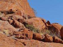 Erosion of the rocks in the red center Royalty Free Stock Photography