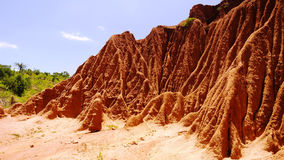 Erosion sand ravine. Near Kei Afer local market, Ethiopia stock photography