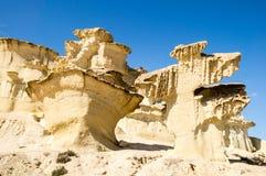 Erosion on sandstone. On Bolnuevo beach, Mazarron, Murcia, Spain Stock Photos