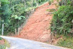 Erosion on the side of the road. Erosion on the side of a paved road in Petropolis, Brazil, as the result of deforestation stock photography