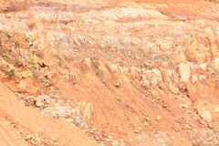 Erosion. Of soil on stone slope of hill on mountain - geological minerals Royalty Free Stock Photography